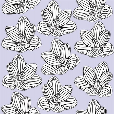 simsearch:400-04765926,k - Seamless floral pattern with black-and-white flowers. Vector illustration Stock Photo - Budget Royalty-Free & Subscription, Code: 400-04869524