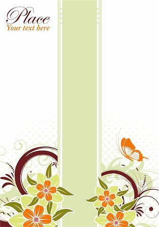 filigree designs in trees and insects - Floral frame with butterfly, element for design, vector illustration Stock Photo - Budget Royalty-Free & Subscription, Code: 400-04869914