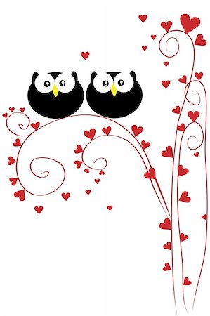 funny love owl sit on heart tree Stock Photo - Budget Royalty-Free & Subscription, Code: 400-04860521
