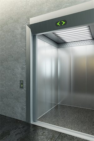 modern elevator with open doors Stock Photo - Budget Royalty-Free & Subscription, Code: 400-04860692