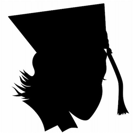 An image of a female graduate with hat silhouette. Stock Photo - Budget Royalty-Free & Subscription, Code: 400-04860782