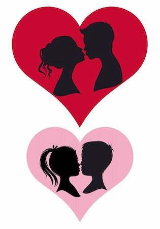 adult and children couple kissing, vector illustration Stock Photo - Budget Royalty-Free & Subscription, Code: 400-04860791