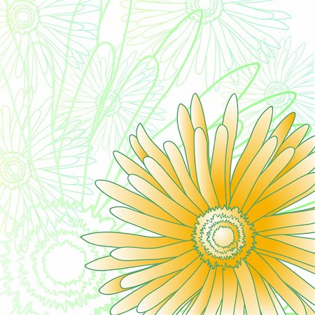 simsearch:400-04367215,k - Vector illustration of green and yellow gerberas Stock Photo - Budget Royalty-Free & Subscription, Code: 400-04860933
