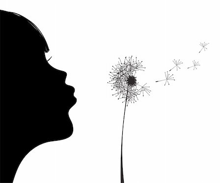 pressmaster - Vector illustration of silhouette of girl blowing to dandelion Stock Photo - Budget Royalty-Free & Subscription, Code: 400-04860949