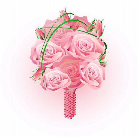 simsearch:400-04367215,k - Vector illustration of beautiful bridal bouquet of roses Stock Photo - Budget Royalty-Free & Subscription, Code: 400-04861009