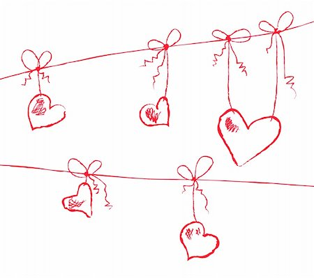 Vector illustration of hearts hanging on strings Stock Photo - Budget Royalty-Free & Subscription, Code: 400-04861019