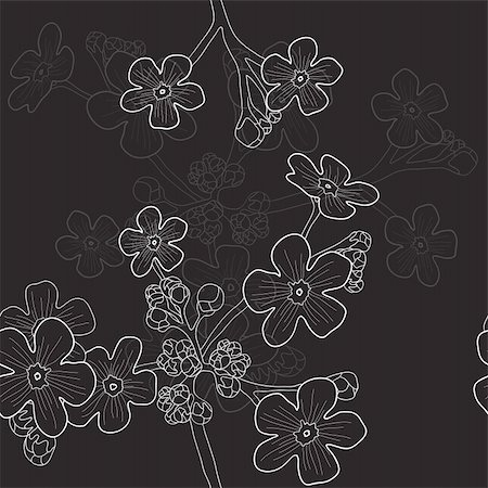 simsearch:400-04367215,k - Vector illustration of black seamless pattern with wildflowers Stock Photo - Budget Royalty-Free & Subscription, Code: 400-04861063