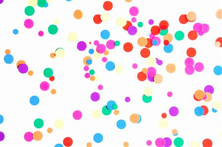 paper blower - colored round confetti spilled on white Stock Photo - Budget Royalty-Free & Subscription, Code: 400-04861762