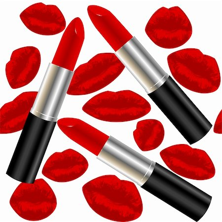 Seamless pattern with lipsticks and lips Stock Photo - Budget Royalty-Free & Subscription, Code: 400-04862282
