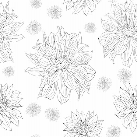 flower drawings black - Hand drawn floral wallpaper with set of different flowers. Could be used as seamless wallpaper, textile, wrapping paper or background Stock Photo - Budget Royalty-Free & Subscription, Code: 400-04862402
