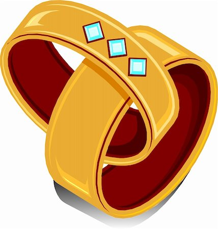 Vector Illustration of two wedding rings linked together. Stock Photo - Budget Royalty-Free & Subscription, Code: 400-04862442