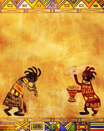 Dancing musicians. African traditional patterns Stock Photo - Budget Royalty-Free & Subscription, Code: 400-04863387