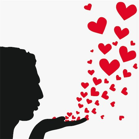 Profile man face, silhouette hand. Handsome boyfriend blowing heart. Drawing background. Beautiful vector illustration. Stock Photo - Budget Royalty-Free & Subscription, Code: 400-04863566