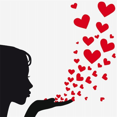 Woman silhouette hand. Pretty girl blowing heart. Drawing background. Vector illustration. Stock Photo - Budget Royalty-Free & Subscription, Code: 400-04863562