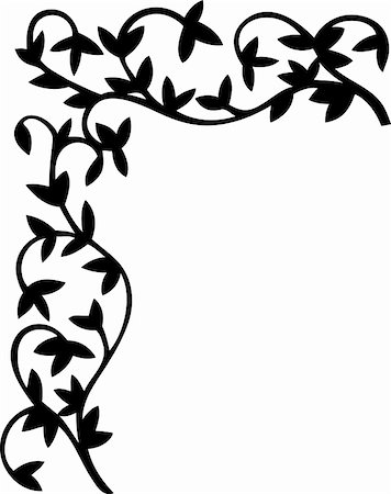 flores - Floral black and white corner. Vector illustration. Stock Photo - Budget Royalty-Free & Subscription, Code: 400-04863596