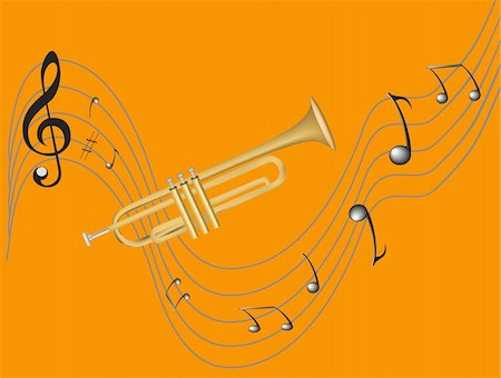 Style trumpet and treble clef, sharp, many notes Stock Photo - Budget Royalty-Free & Subscription, Code: 400-04863651