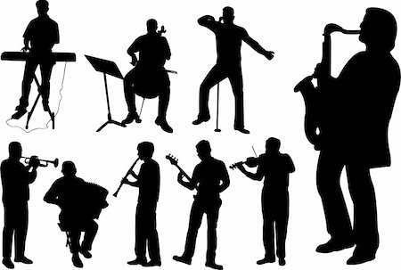 silhouette musical symbols - Musicians silhouettes collection - vector Stock Photo - Budget Royalty-Free & Subscription, Code: 400-04874187