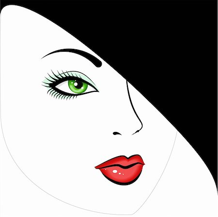 face woman beautiful clipart - face green-eyed beautiful girl in a black hat Stock Photo - Budget Royalty-Free & Subscription, Code: 400-04874341