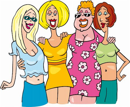 cartoon illustration of four women on meeting Stock Photo - Budget Royalty-Free & Subscription, Code: 400-04874417