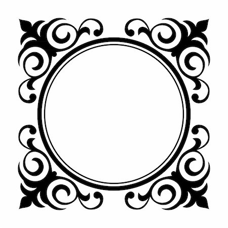 Vector circle ornamental decorative frame pattern background Stock Photo - Budget Royalty-Free & Subscription, Code: 400-04874715