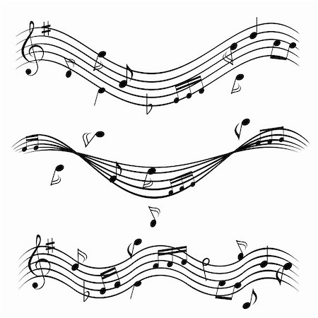 Various music notes on stave Stock Photo - Budget Royalty-Free & Subscription, Code: 400-04875050