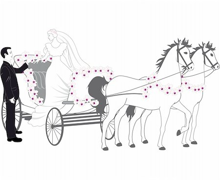 An a vector illustration of chariot with newlyweds Stock Photo - Budget Royalty-Free & Subscription, Code: 400-04875979