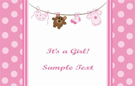 Pink baby girl announcement invitation Stock Photo - Budget Royalty-Free & Subscription, Code: 400-04876217