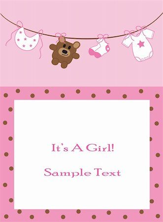 Pink baby girl announcement invitation Stock Photo - Budget Royalty-Free & Subscription, Code: 400-04876218