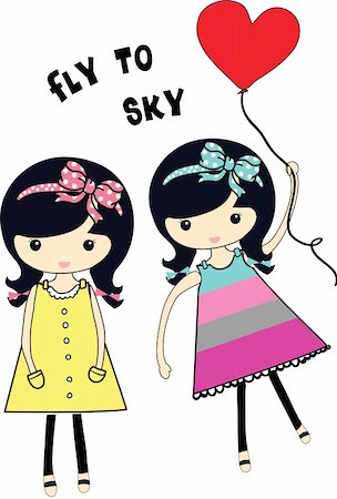fly heart - cute cartoon girls with balloon  illustration sketch drawing  vector Stock Photo - Budget Royalty-Free & Subscription, Code: 400-04876760
