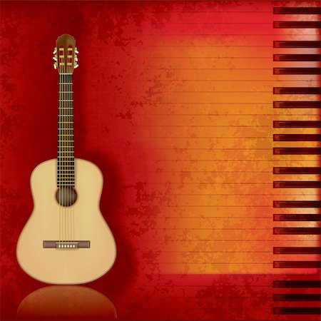 sheet music background - abstract music grunge background acoustic guitar and piano Stock Photo - Budget Royalty-Free & Subscription, Code: 400-04876834
