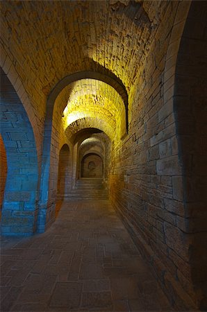 Vaulted Dungeon Royal Monastery in Aragon, Spain Stock Photo - Budget Royalty-Free & Subscription, Code: 400-04876936