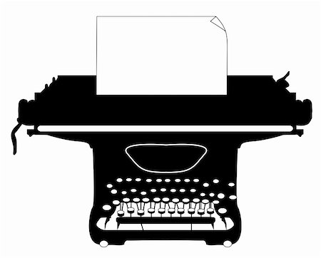 scalable - Silhouette of an old typewriter with a sheet of paper. Stock Photo - Budget Royalty-Free & Subscription, Code: 400-04877441