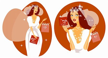 face woman beautiful clipart - Woman Happy Smiling Bride Illustration - Beautiful Bride in white wedding dress. Vector cartoon Illustration. Stock Photo - Budget Royalty-Free & Subscription, Code: 400-04877506