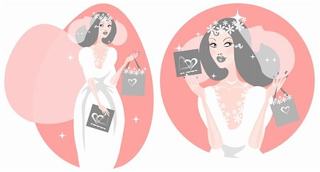 face woman beautiful clipart - Woman Happy Smiling Bride Illustration - Beautiful Bride in white wedding dress. Vector cartoon Illustration. Stock Photo - Budget Royalty-Free & Subscription, Code: 400-04877507