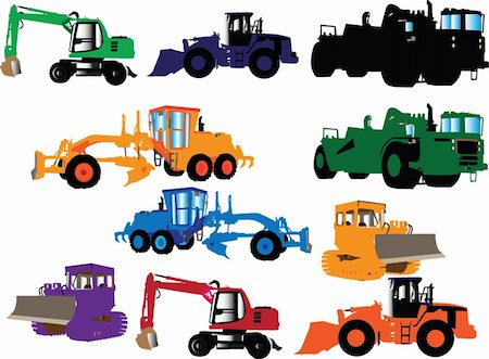 construction machines collection - vector Stock Photo - Budget Royalty-Free & Subscription, Code: 400-04877575