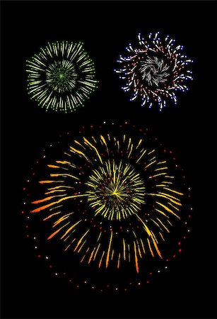 simsearch:400-05266705,k - Brightly Colorful Vector Fireworks and Salute- vector isolated on black background Stock Photo - Budget Royalty-Free & Subscription, Code: 400-04878012