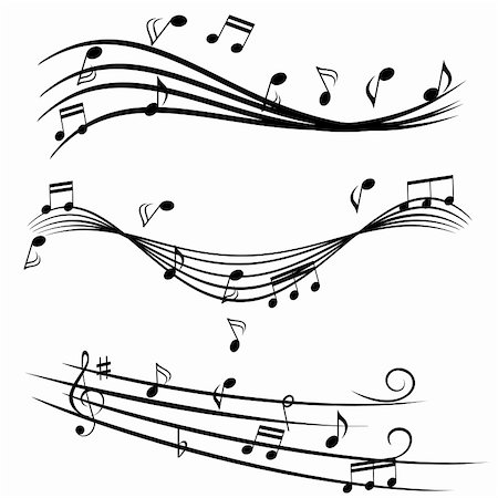 Various music notes on stave Stock Photo - Budget Royalty-Free & Subscription, Code: 400-04878292