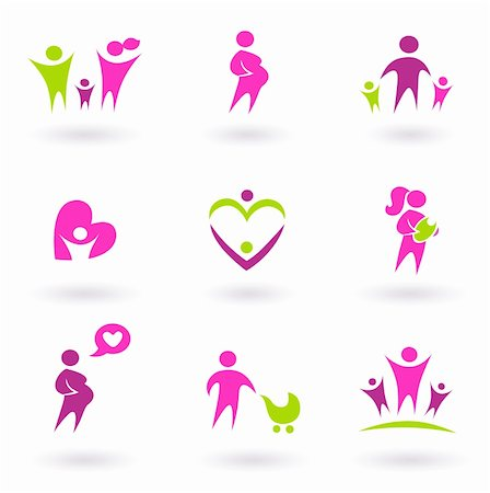 Set of family and pregnancy set icons. Vector Illustration Stock Photo - Budget Royalty-Free & Subscription, Code: 400-04878752
