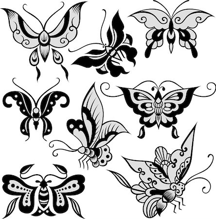 fashion butterfly set Stock Photo - Budget Royalty-Free & Subscription, Code: 400-04879732