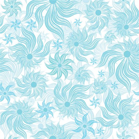 svetap (artist) - Abstract art blue vector flower seamless background pattern, floral vintage illustration. Cute, filigree wallpaper with flourishes. Stock Photo - Budget Royalty-Free & Subscription, Code: 400-04879841