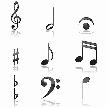 Glossy illustration showing different graphics commonly used in music notations Stock Photo - Budget Royalty-Free & Subscription, Code: 400-04871919