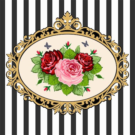 Classical black & gold victorian frame with rose bouquet, space for your text. Vintage rose bouquet illustration on black white background. Stock Photo - Budget Royalty-Free & Subscription, Code: 400-04872199