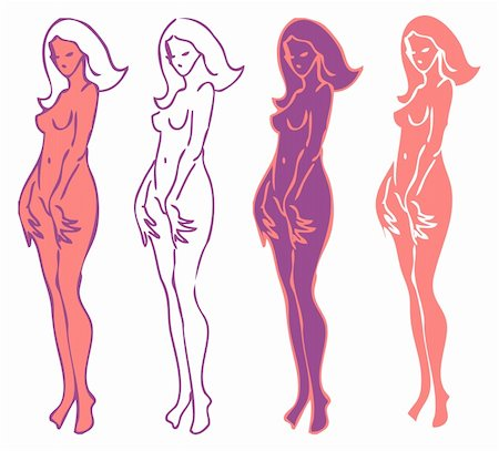 4 emblems variations of beautiful nude woman silhouette Stock Photo - Budget Royalty-Free & Subscription, Code: 400-04872210