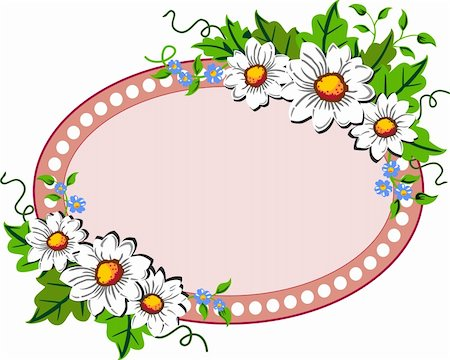 White daisy flowers oval frame with space for your text, logo or design Stock Photo - Budget Royalty-Free & Subscription, Code: 400-04872426