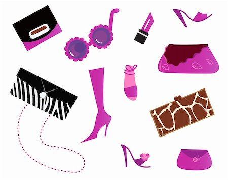 Pinky fashion women icons isolated on white. Vector Stock Photo - Budget Royalty-Free & Subscription, Code: 400-04872557