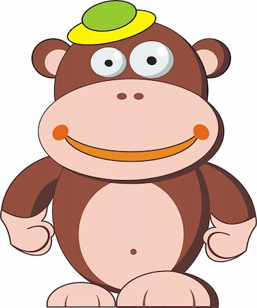smiling chimpanzee - funny monkey cartoon, isolated on White Stock Photo - Budget Royalty-Free & Subscription, Code: 400-04872727