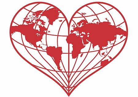 heart shaped red earth globe, vector illustration Stock Photo - Budget Royalty-Free & Subscription, Code: 400-04873418