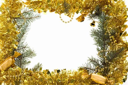 simsearch:400-05749231,k - Christmas composition in form of frame over white background Stock Photo - Budget Royalty-Free & Subscription, Code: 400-04873616