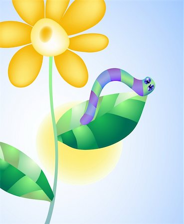 Vector illustration of caterpillar on a flower on the background of sky and sun Stock Photo - Budget Royalty-Free & Subscription, Code: 400-04873754