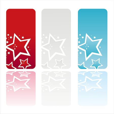 fireworks vector art - set of 3 american colored stars banners Stock Photo - Budget Royalty-Free & Subscription, Code: 400-04885688